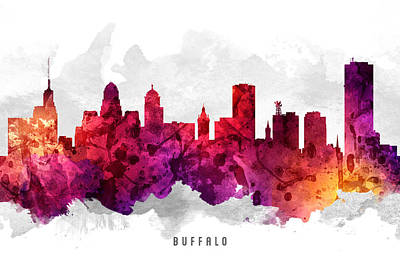 Towns Digital Art - Buffalo New York Cityscape 14 by Aged Pixel