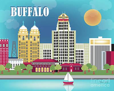 Buffalo New York Horizontal Skyline Art Print