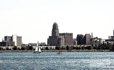 Photograph - Buffalo New York Skyline 1 Ink Sketch Effect by Rose Santuci-Sofranko