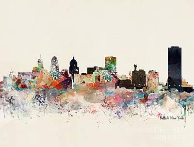 Painting - Buffalo New York Skyline by Bleu Bri