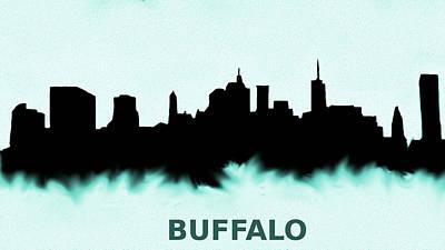 New York Painting - Buffalo New York Skyline Blue  by Enki Art