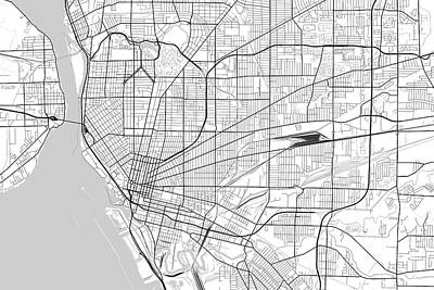 New York Digital Art - Buffalo New York Usa Light Map by Jurq Studio