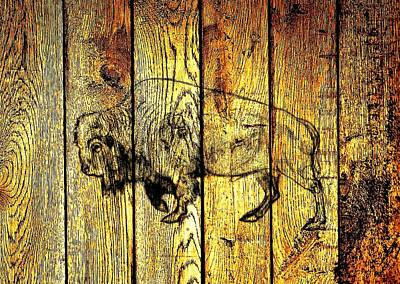 Photograph - Buffalo On Barn Wood by Larry Campbell