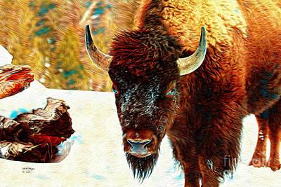 Yellowstone Mixed Media - Buffalo Painting by Bill And Deb Hayes