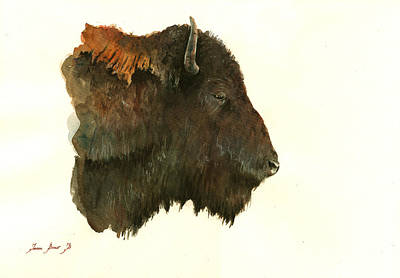 Buffalo Painting - Buffalo Portrait Head by Juan  Bosco