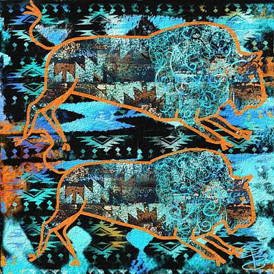 Bison Digital Art - Buffalo Print by Debra Baldwin