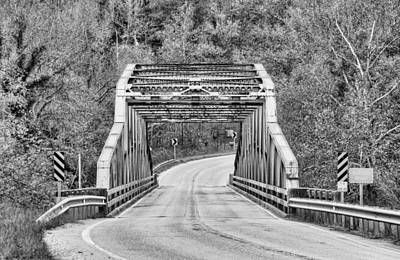 Buffalo National River Photograph - Buffalo River Bridge In Black And White by JC Findley
