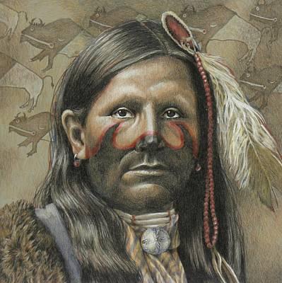 Indian Tribal Art Drawing - Buffalo Runner by Joe Belt