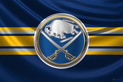 Hockey Art Digital Art - Buffalo Sabres - 3 D Badge Over Silk Flag by Serge Averbukh