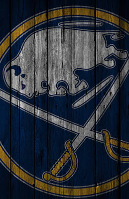 Hockey Player Painting - Buffalo Sabres Wood Fence by Joe Hamilton