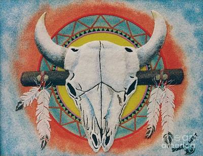 Bison Mixed Media - Buffalo Skull by Duane West