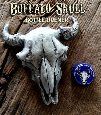 Sculpture - Buffalo Skull Opener by Tim  Joyner