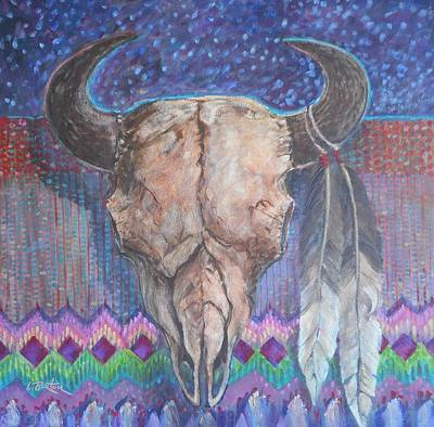 Lynn Burton Painting - Buffalo Skull With Feathers by Lynn Burton