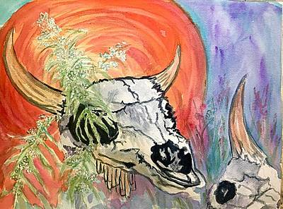 Painting - Buffalo Skulls And Prairie Sage by Ellen Levinson