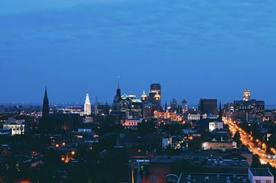 Pyrography - Buffalo Skyline At Night by Colin Gordon