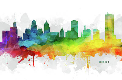 Buffalo Art Digital Art - Buffalo Skyline Mmr-usnybu05 by Aged Pixel