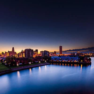 Photograph - Buffalo Skyline Twilight - Square by Chris Bordeleau