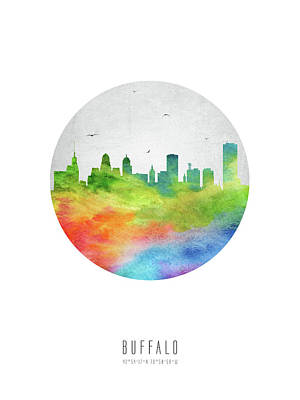 Buffalo Art Digital Art - Buffalo Skyline Usnybu20 by Aged Pixel