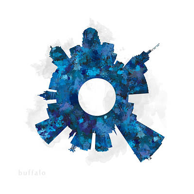 Buffalo Digital Art - Buffalo Small World Cityscape Skyline Blue by Jurq Studio
