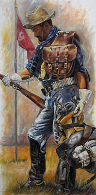 Saddle Painting - Buffalo Soldier Outfitted by Harvie Brown