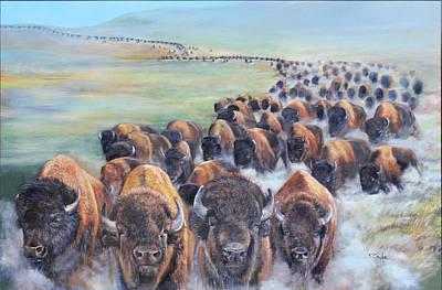 Painting - Buffalo Stampede by Karen Cade