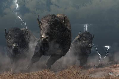 Animals Digital Art - Buffalo Storm by Daniel Eskridge