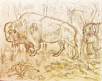 Drawing - Buffalo Trail  by Larry Campbell
