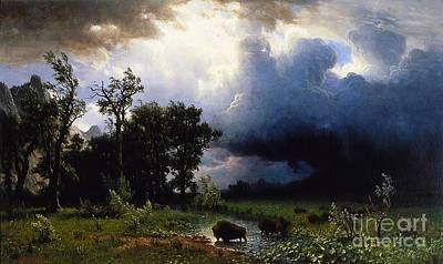 Bisons Painting - Buffalo Trail The Impending Storm by Celestial Images