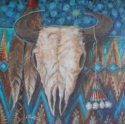 Lynn Burton Painting - Buffalo Skull With Medicine Bag by Lynn Burton