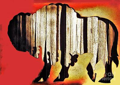 Photograph -  Wooden Buffalo 3 by Larry Campbell
