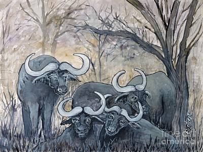 Painting - Buffaloes In The Bushveld by Caroline Street