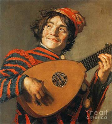 Buffoon Playing Lute 1623 Art Print