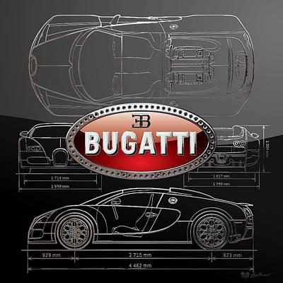 Digital Art - Bugatti   3 D  Badge Over Bugatti Veyron Grand Sport Silver Blueprint On Black Special Edition by Serge Averbukh