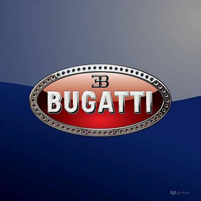 Digital Art - Bugatti   3 D  Badge Special Edition On Blue by Serge Averbukh