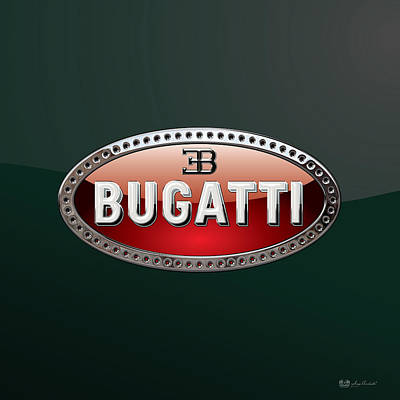 Digital Art - Bugatti   3 D  Badge Special Edition On Bottle Green by Serge Averbukh