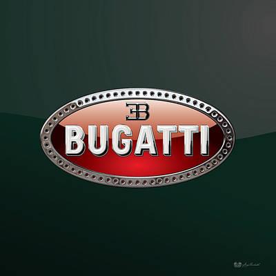 Digital Art - Bugatti   3 D  Badge Special Edition On Bottle Green by Serge Averbukh