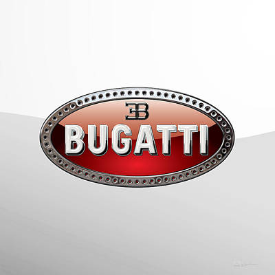 Digital Art - Bugatti   3 D  Badge Special Edition On White by Serge Averbukh