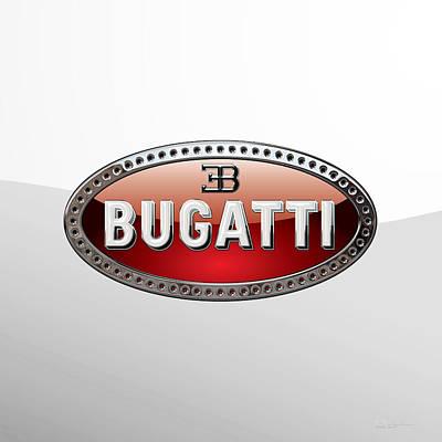 Digital Art - Bugatti   3 D  Badge Special Edition On White by Serge Averbukh