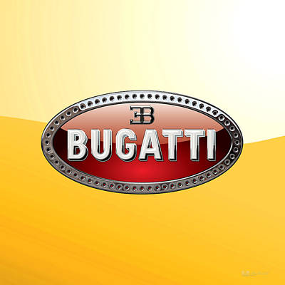 Digital Art - Bugatti   3 D  Badge Special Edition On Yellow by Serge Averbukh