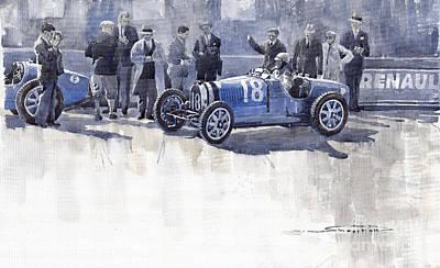 1930 Painting - Bugatti 35c Monaco Gp 1930 Louis Chiron  by Yuriy  Shevchuk