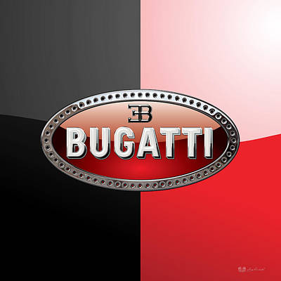 Bugatti - 3d Badge On Black And Red Original by Serge Averbukh