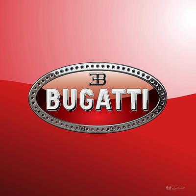 Digital Art - Bugatti - 3d Badge On Red by Serge Averbukh