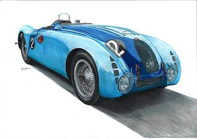 Automotive Drawing - Bugatti 57g Tank, 1937 Lemans Winner. by Tomasz Boguslawski
