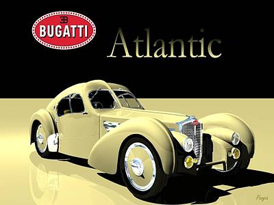Art Print featuring the digital art Bugatti Atlantic by John Pangia