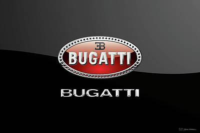 Digital Art - Bugatti Badge - Luxury Edition On Black by Serge Averbukh