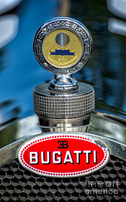 Chrome Grill Photograph - Bugatti Car Emblem by Adrian Evans