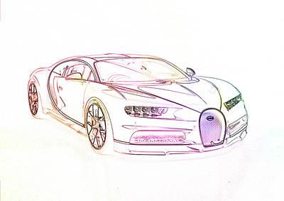 Digital Art - Bugatti Chiron by PixBreak Art