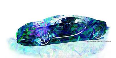 Digital Art - Bugatti Chiron by Roger Lighterness