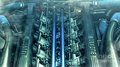 Bugatti Eb110 V12 Engine Print by Tim Gainey