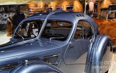 Headlight Mixed Media - Bugatti Side View.  by Garland Johnson